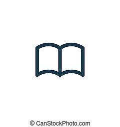 fondo., libro, vector, icono, blanco, aislado, símbolo