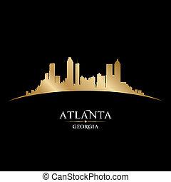 fondo negro, atlanta, contorno, georgia, ciudad, silueta