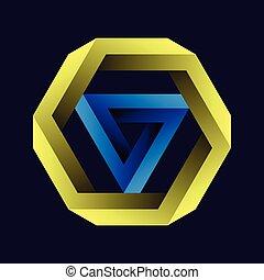 fondo., negro, figuras, penrose, tribar, o, gradiente, imposible, hexágono, tribar, objetos, triángulo