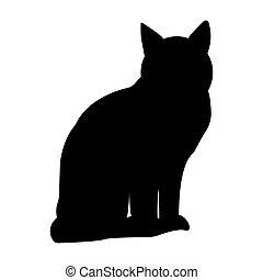 fondo negro, gato, blanco, silueta