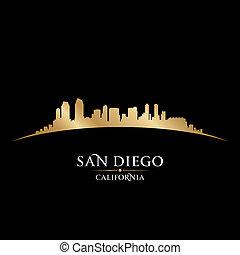 fondo negro, san, contorno, diego, ciudad, california, silueta