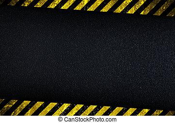 fondo oscuro, precaución, rayas, amarillo