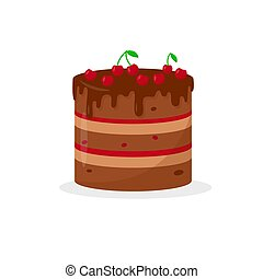 fondo., pastel, chocolate, blanco, cerezas