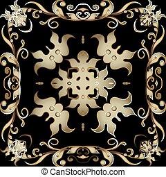 fondo., pattern., diseño decorativo, telón de fondo., flores, seamless, estilo, vendimia, fronteras, ornamental, floral, vector, hermoso, elegancia, repetición, ornamento, frame., leaves., damasco, florido, barroco, modelado