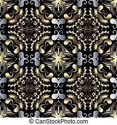 fondo., pattern., diseño decorativo, telón de fondo., tribal, flores, seamless, estilo, vendimia, ornamental, étnico, floral, shapes., vector, hermoso, repetición, ornamento, cachemira, hojas, florido, oro, oriental
