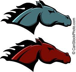 fondo., plantilla, blanco, aislado, caballo, cabeza, emblema