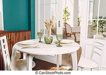 fondo., platos, anteojos, tabla de cocina, verde blanco, planta, redondo, habitación, vida
