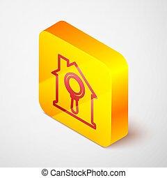fondo., propiedad, búsqueda, aumentar, vector, cuadrado, vidrio., button., casa, línea, amarillo, símbolo, isométrico, icono, debajo, aislado, verdadero, gris