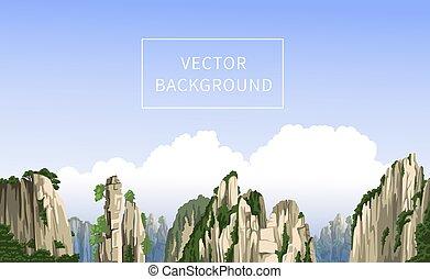 fondo., realista, clouds., panorámico, paisaje, vector, china., grande, chino, viaje, montañas, hand-drawn