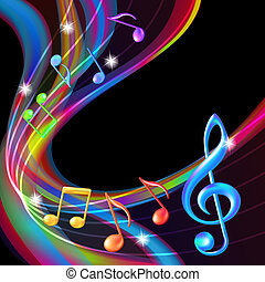 fondo., resumen, música nota, colorido