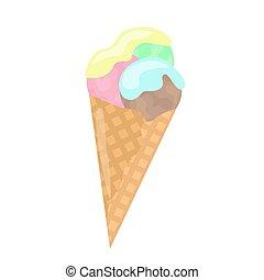 fondo., vector, barquillo, crema, ilustración, cono, blanco, aislado, hielo