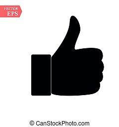 fondo., vector, gris, blanco, icono, ilustración, señal de mano, aislado, pulgar, flat., arriba, símbolo