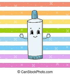 fondo., vector, infantil, ilustración, aislado, lindo, caricatura, style., blanco, toothpaste., plano, character., divertido, diversión