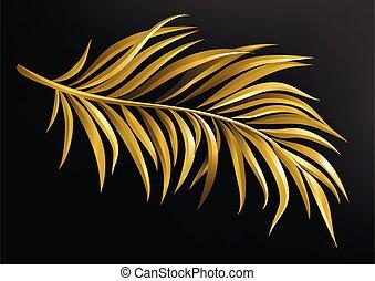 fondo., vector, rama, negro, palma, ilustración, oro