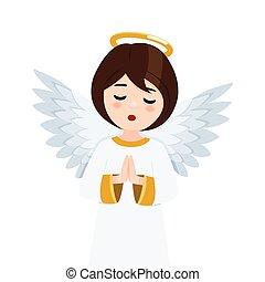fondo., vector, rezando, primer plano, ilustración, ángel, aislado, cielo, blanco