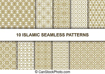fondos, islámico, étnico, árabe, style., conjunto, seamless, patterns., geométrico