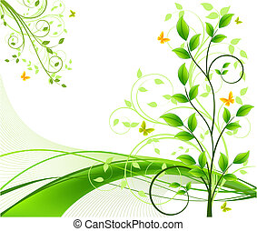 fondos, vector, floral, resumen