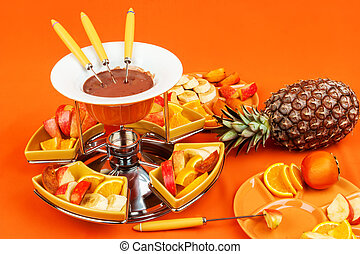 fondue de chocolate con frutas