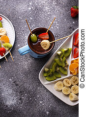 fondue, dulce, chocolate, fruits