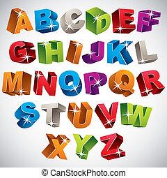 Font 3D, alfabeto colorido audaz.