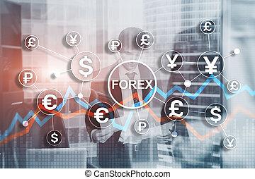 forex, comercio, fondo., acciones, financiero, bonds., azul