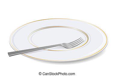 fork., blanco, vector, placa