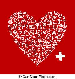 Forma cardiaca con iconos médicos para tu diseño