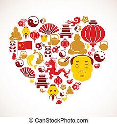 forma corazón, china, iconos