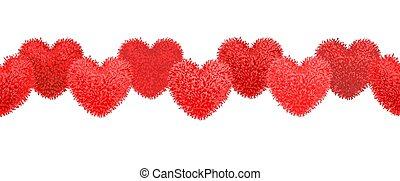 forma corazón, elementos, decortive, pom-poms