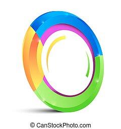 Forma de círculo colorido aislada en el fondo blanco