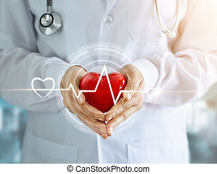 forma, estetoscopio, corazón, icono, plano de fondo, latido del corazón, rojo, hospital, manos, doctor