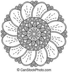 forma, florecer, página, mandala, flor, zen, redondeado, pétalos, sombreado, fantasía, colorido