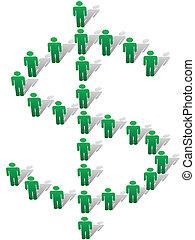 forma, gente, símbolomonetario, muestra del dólar, verde, estante