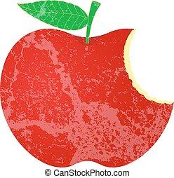 forma, grunge, manzana, comido