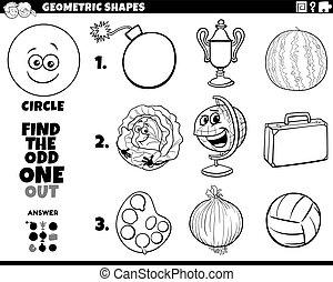 forma, objetos, educativo, círculo, tarea, libro colorear