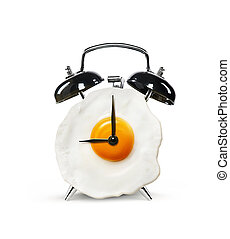 forma, reloj, aislado, fondo blanco, alarma, huevo