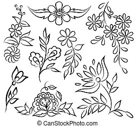 forma, resumen, angle., aislado, arreglo, fondo negro, floral, blanco, frontera