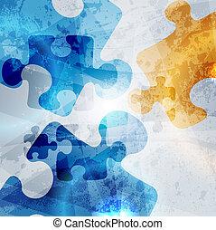 Formación corporativa. Abstracción de rompecabezas, diseño de vector colorido