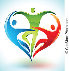 formación, figuras, tres, corazón