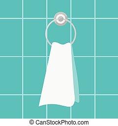 formado, fondo., toalla, tenedor, azulejo, pared, cuarto de baño, anillo