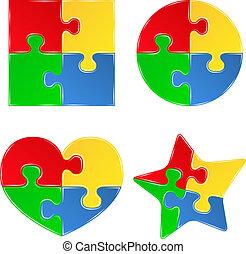 formas, rompecabezas, rompecabezas, vector, pedazos