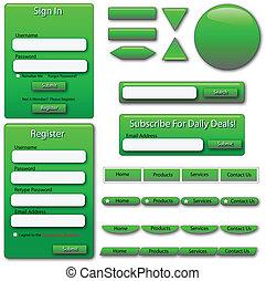 Formas y botones verdes