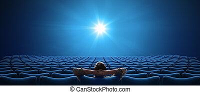 formato, sentada de la persona, cine, cinemascope, 21:9, uno