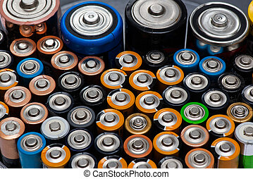 formato, tamaño, marcas, baterías, filas, aa, alcalino, acostado, diferente, utilizado