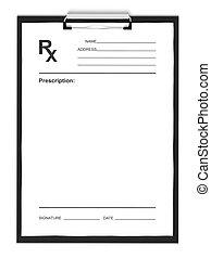 Formulario de receta en blanco, aislado en antecedentes blancos.