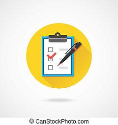 Formulario de vector con bolígrafo y cajas de chequeo