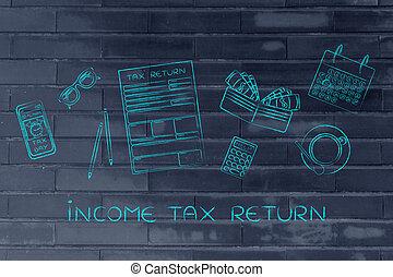 Formularios de impuestos con objetos de escritorio de oficina alerta de teléfono, impuesto de ingreso de captura