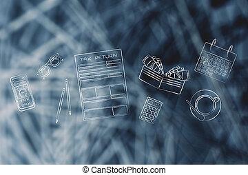 Formularios de impuestos con objetos de oficina alerta telefónica