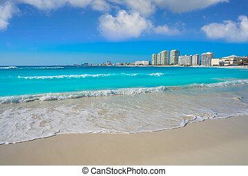 foro, gaviota, azul, playa, playa, cancun