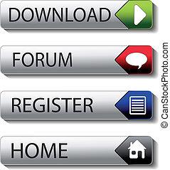 foro, -, registro, botones, vector, descargue, hogar